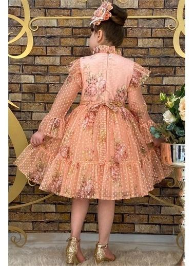 Riccotarz Kız Çocuk Çiçekli Prenses Somon Elbise Somon